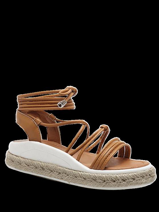 women's Tie Up Espadrilles Faux Leather Sandals - LIGHT BROWN 39
