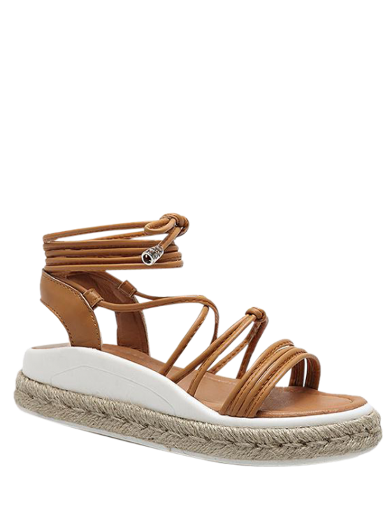 ladies Tie Up Espadrilles Faux Leather Sandals - LIGHT BROWN 40