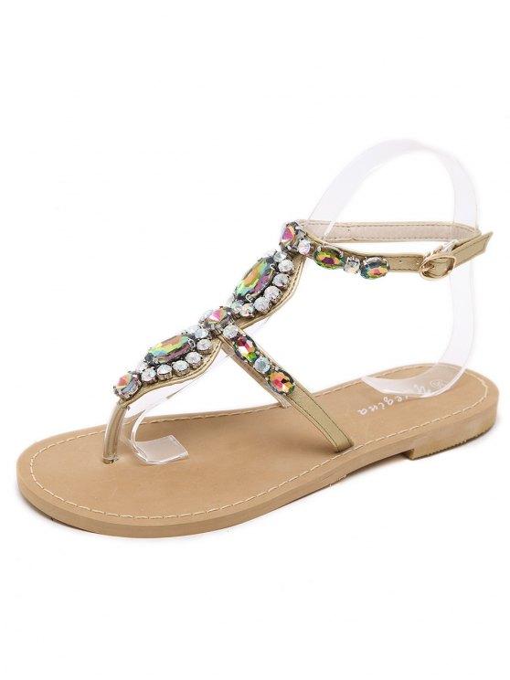 PU Leather Rhinestones Flat Heel Sandals - GOLDEN 38 Mobile
