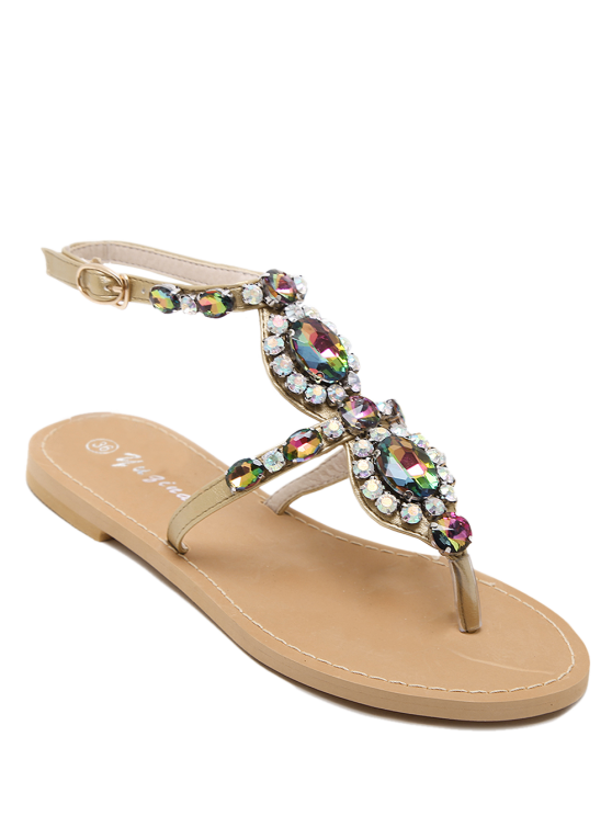 outfit PU Leather Rhinestones Flat Heel Sandals - GOLDEN 40