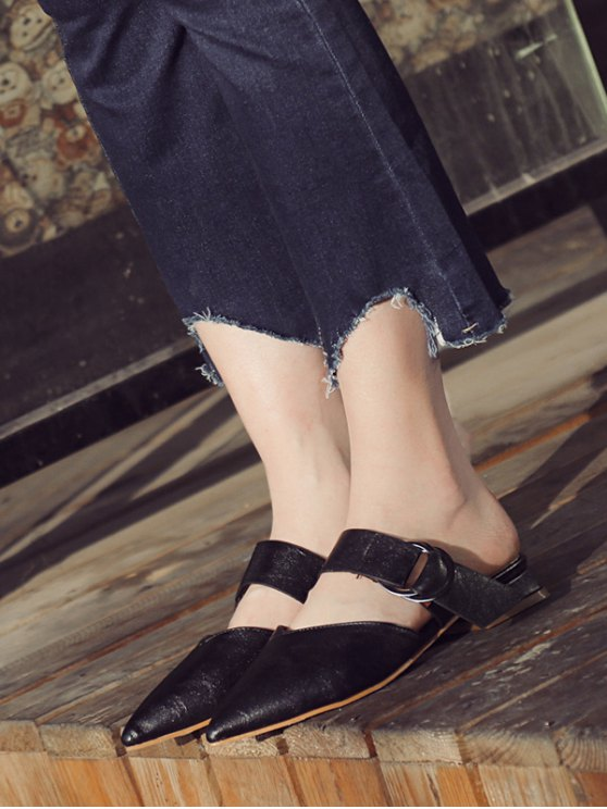 Pointed Toe Metal Rings Faux Leather Slippers - BLACK 38 Mobile