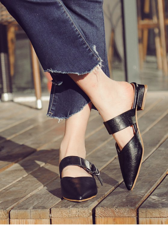 Pointed Toe Metal Rings Faux Leather Slippers - BLACK 39 Mobile