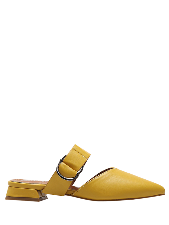 fashion Pointed Toe Metal Rings Faux Leather Slippers - YELLOW 38