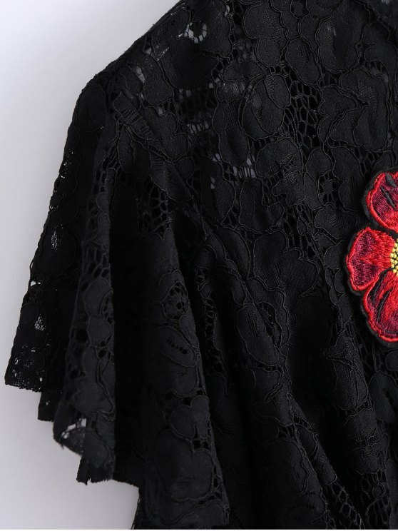 Ruffles Embroidered Lace Dress - BLACK L Mobile