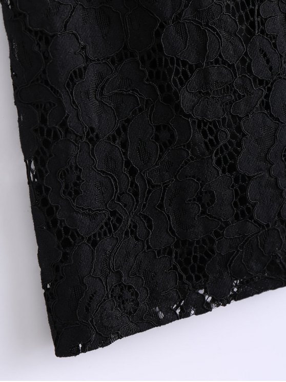 Ruffles Embroidered Lace Dress - BLACK M Mobile