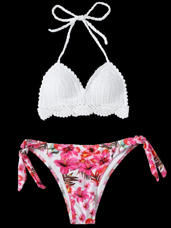 Floral Crocheted Bikini Set - WHITE L Mobile