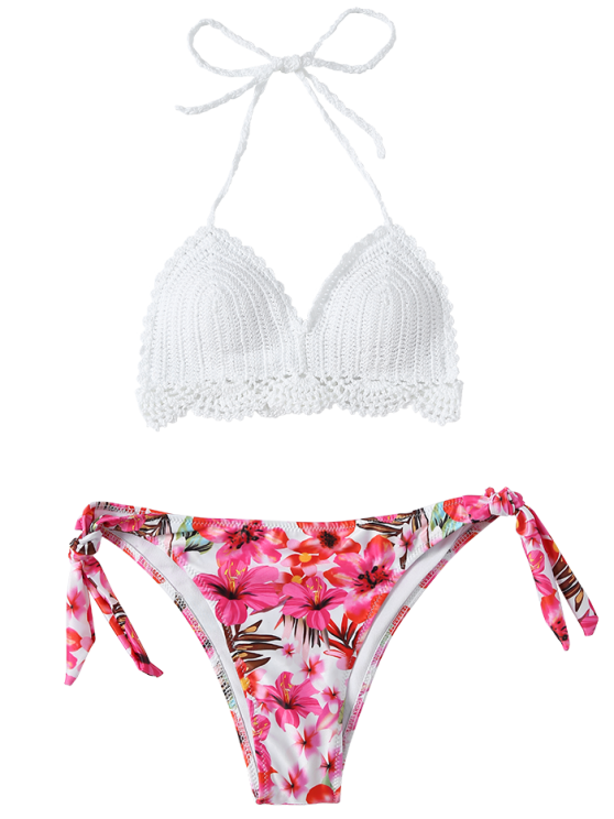 Floral Crocheted Bikini Set - WHITE M Mobile