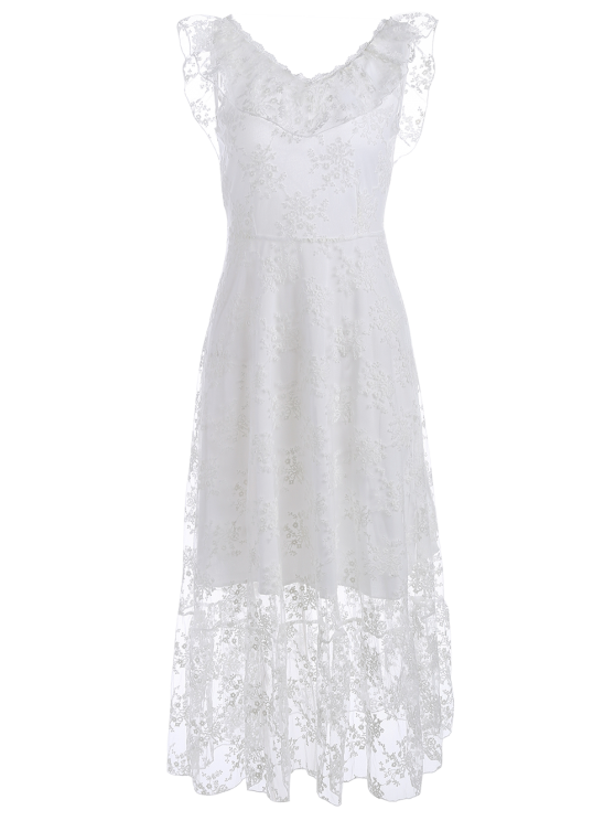 Open Back Lace Tulle Lace Up Dress - WHITE L Mobile