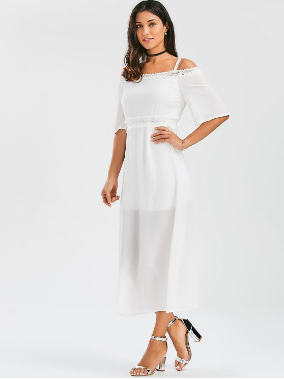 Spaghetti Straps Cold Shoulder Chiffon Dress - WHITE M Mobile