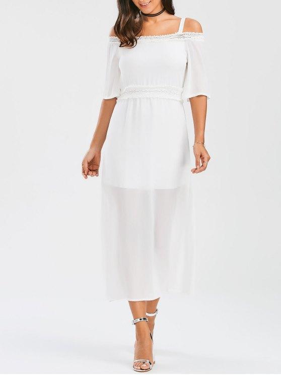 online Spaghetti Straps Cold Shoulder Chiffon Dress - WHITE M