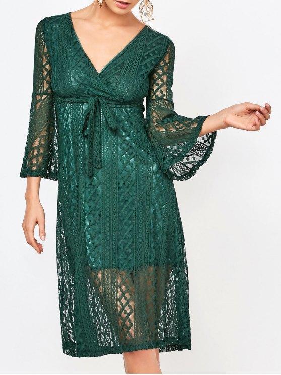 sale Empire Waist Surplice Lace Dress - DEEP GREEN M