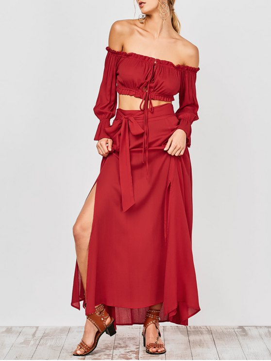 Cropped Off The Shoulder Top and Belted Slit A-Line Skirt - RED L Mobile