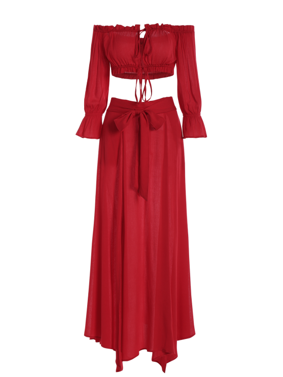 Cropped Off The Shoulder Top and Belted Slit A-Line Skirt - RED S Mobile