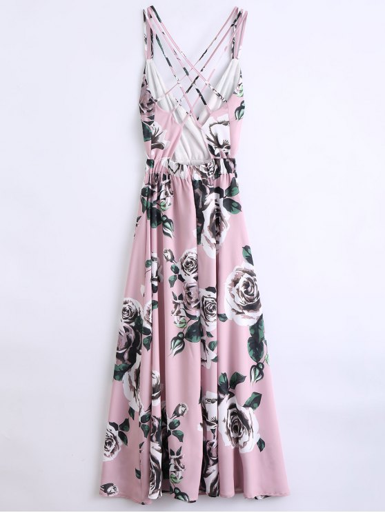 Floral Strappy Beach Dress - PINK S Mobile
