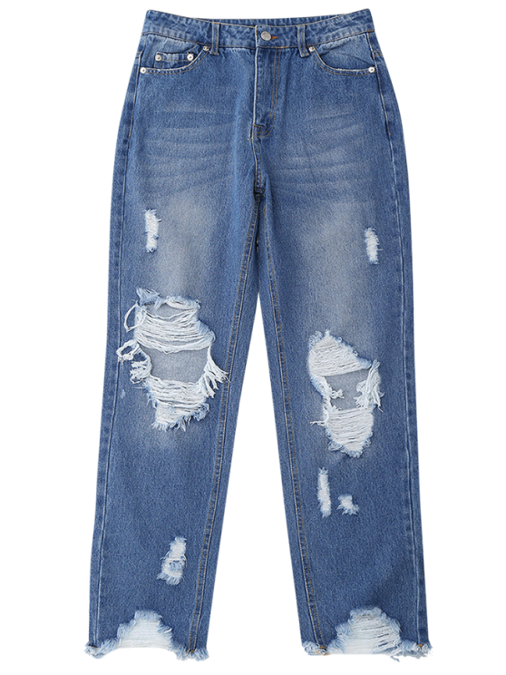 Distressed Raw Hem Jeans - DENIM BLUE S Mobile