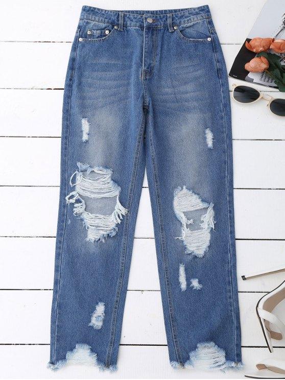 outfit Distressed Raw Hem Jeans - DENIM BLUE M