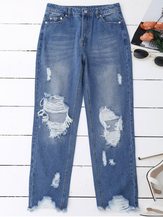 outfits Distressed Raw Hem Jeans - DENIM BLUE L