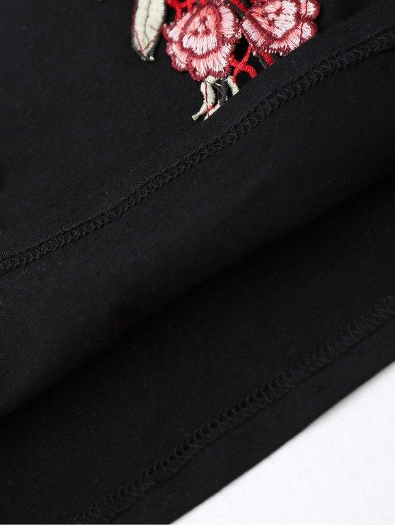 Embroidered Rose Halter Tank Top - BLACK S Mobile