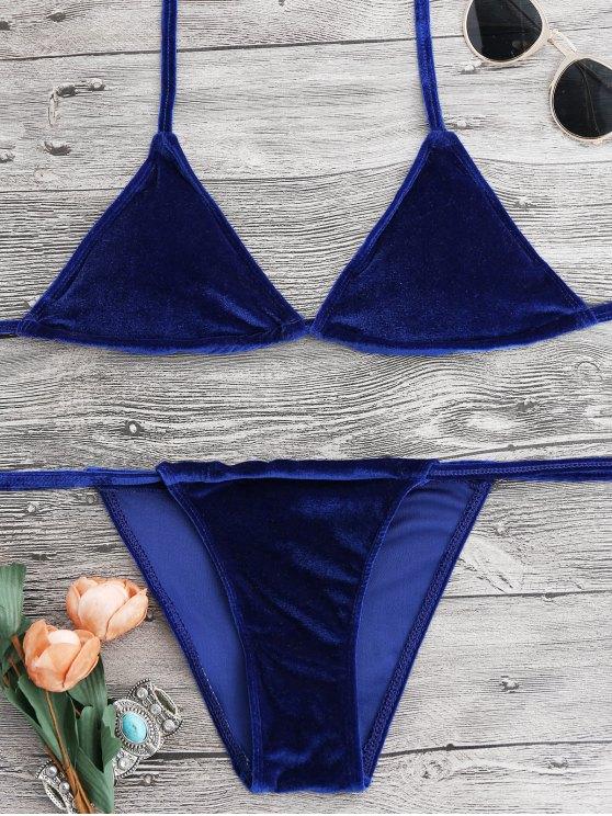 women's Halter Velvet Thong Bikini Set - SAPPHIRE BLUE XL