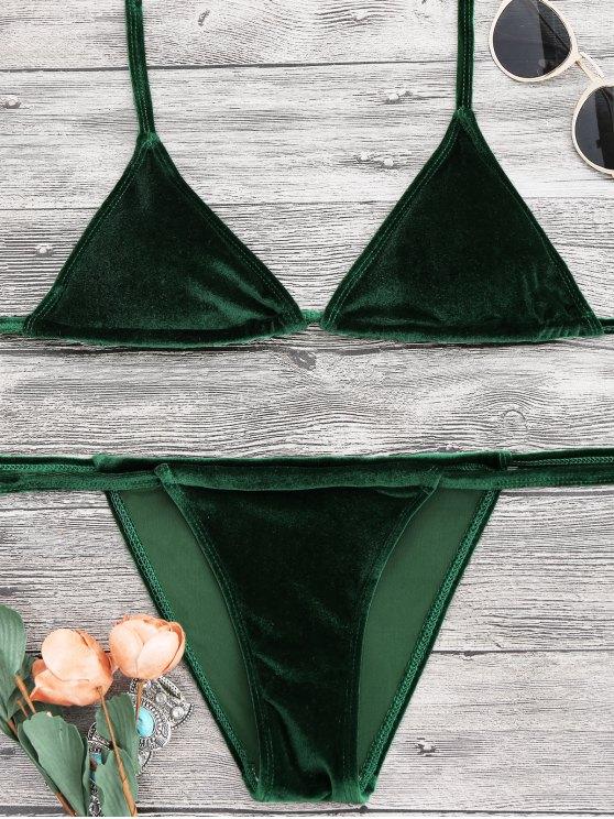 hot Halter Velvet Thong Bikini Set - GREEN M