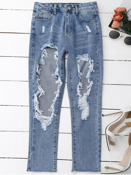women Distressed Frayed Jeans - DENIM BLUE S
