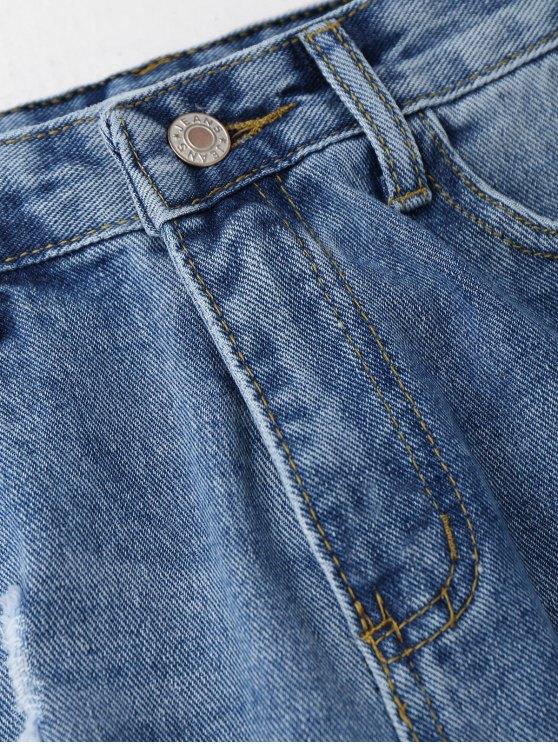 Distressed Frayed Jeans - DENIM BLUE M Mobile