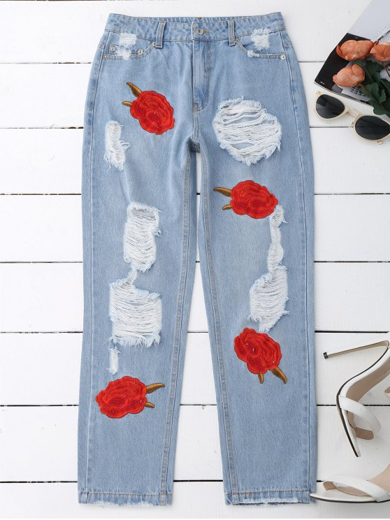 Flower Embroidered Ripped Jeans - DENIM BLUE M Mobile