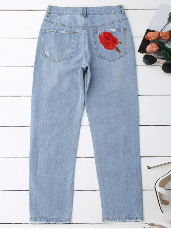 Flower Embroidered Ripped Jeans - DENIM BLUE L Mobile
