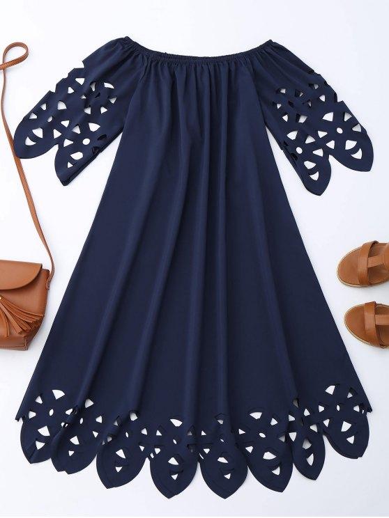 Vestido de hombro con flecos - Azul Purpúreo XL