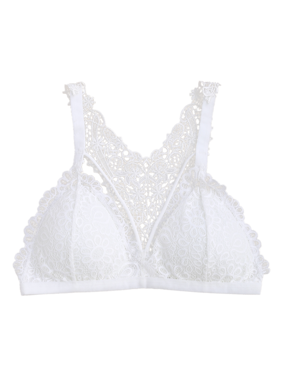 Strappy Y Back Lace Padded Bra - WHITE ONE SIZE Mobile