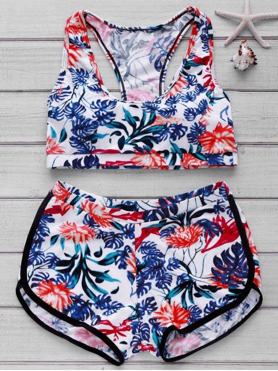 women Printed Crop Top and Boyshorts Bikini - FLORAL L