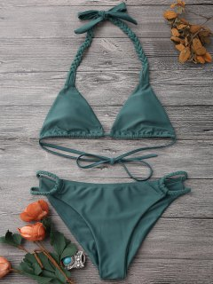 Braided Halter Soft Pad Bathing Suit - Green Xl