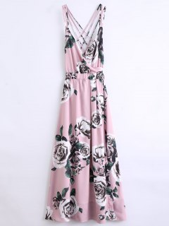 Floral Strappy Beach Dress - Pink S