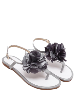 Patent Leather Flower Flat Heel Sandals - Gray 39
