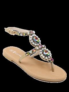 PU Leather Rhinestones Flat Heel Sandals - Golden 40