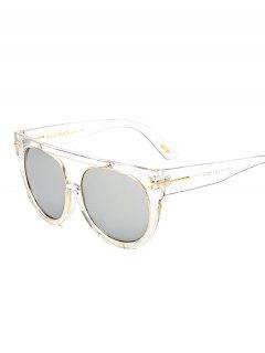 Transparent Frame Crossbar Flat Top Reflective Sunglasses - Nickel Frame+mercury Lens