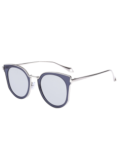 Mirrored Lens Panel Cat Eye Sunglasses - Silver