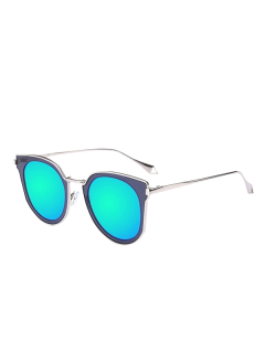 Mirrored Lens Panel Cat Eye Sunglasses - Transparent Gray