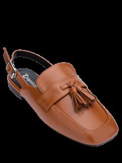 Square Toe Slingback Tassels Flat Shoes - Brown 38