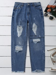 Jeans Déchiré à Grande Taille - Denim Bleu S