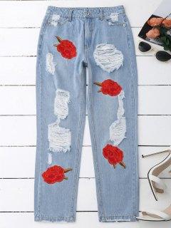 Jeans Déchiré à Broderie Florale - Denim Bleu Xl