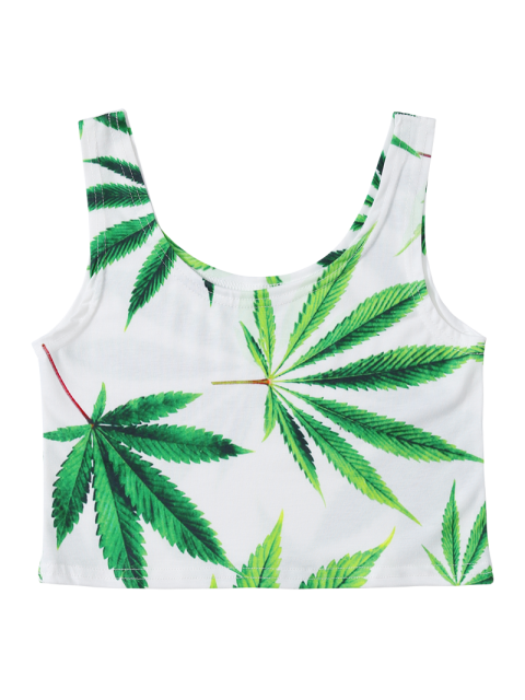 women Leaf Print Cropped Tank Top - WHITE ONE SIZE Mobile