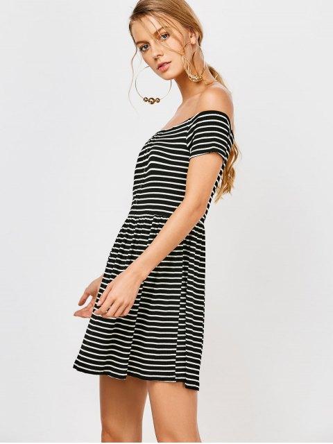 latest Striped Off Shoulder Casual Dress - STRIPE S Mobile