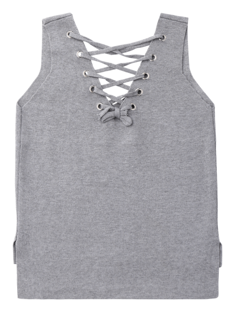fancy Lace-Up High-Low Vest Sweater - GRAY ONE SIZE Mobile
