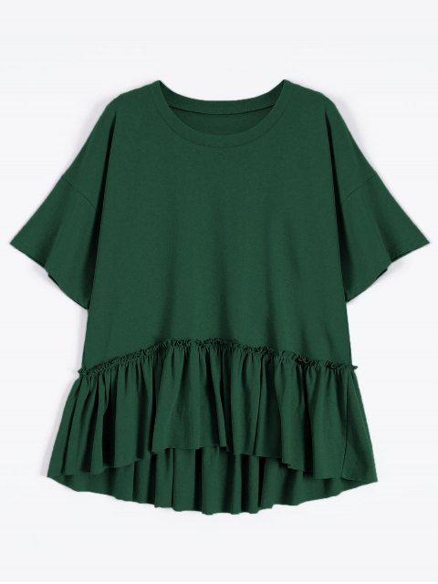 unique Short Sleeve Ruffle Hem T-Shirt - BLACKISH GREEN ONE SIZE Mobile