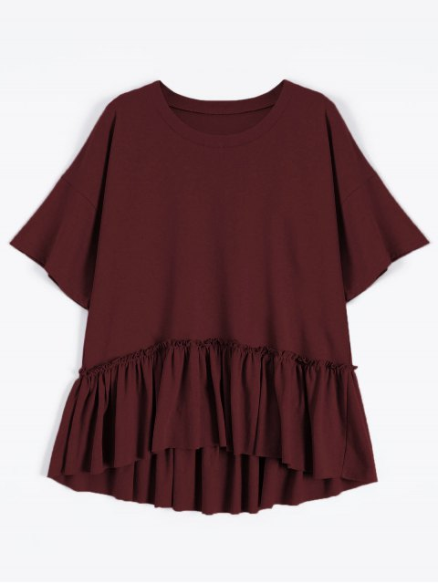 sale Short Sleeve Ruffle Hem T-Shirt - WINE RED ONE SIZE Mobile