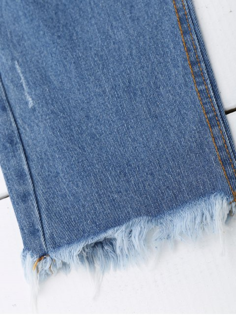 trendy Distressed Graphic Boyfriend Jeans - DENIM BLUE L Mobile
