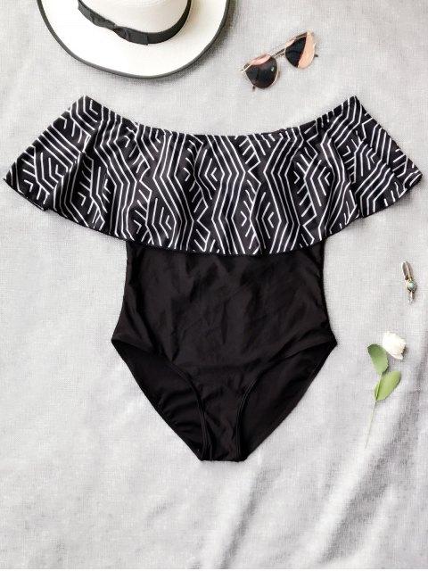 sale Ruffles Off Shoulder One Piece Swimsuit - BLACK XL Mobile