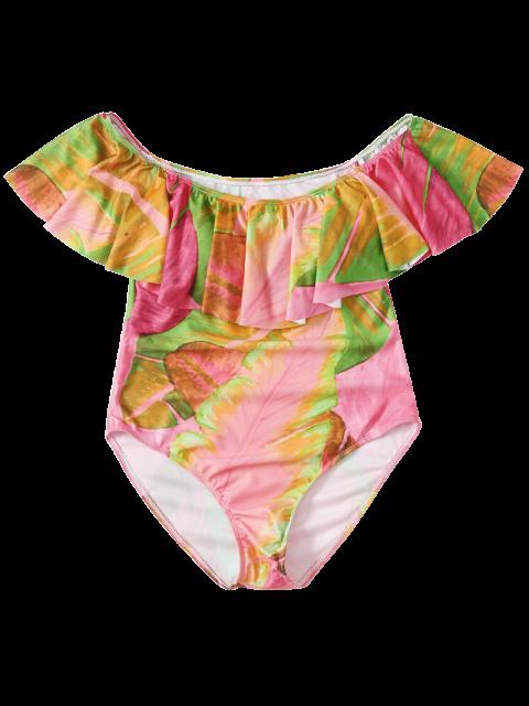 latest Ruffles Off Shoulder Leaf Print Swimwear - COLORMIX M Mobile