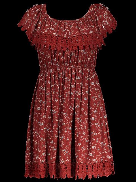 shops Lace Trim Off The Shoulder Dress - WINE RED S Mobile